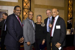 Legal Aid President Emeritus Tony Pierce of Akin Gump; Kurt Schmoke, Dean of Howard University School of Law and Recipient of the Servant of Justice Award; Servant of Justice Award Presenter Norma Leftwich of Howard University; Warner Lawson of Howard University; and Tom Williamson of Covington & Burling