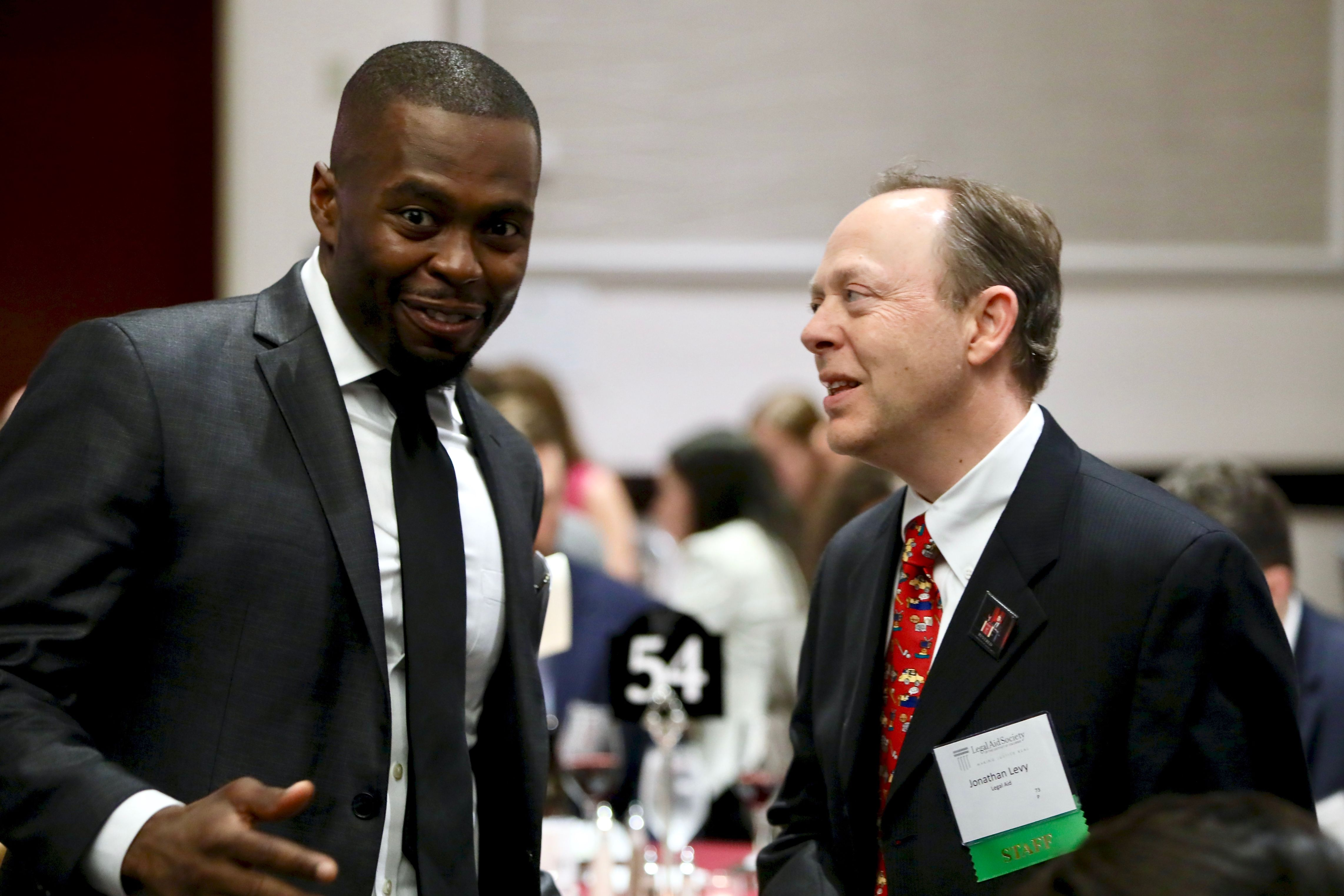 Photo of Former loaned associate Shaun Ossei-Owusu of Sidley Austin with Jonathan Levy, Director of the Barbara McDowell Appellate Advocacy Project