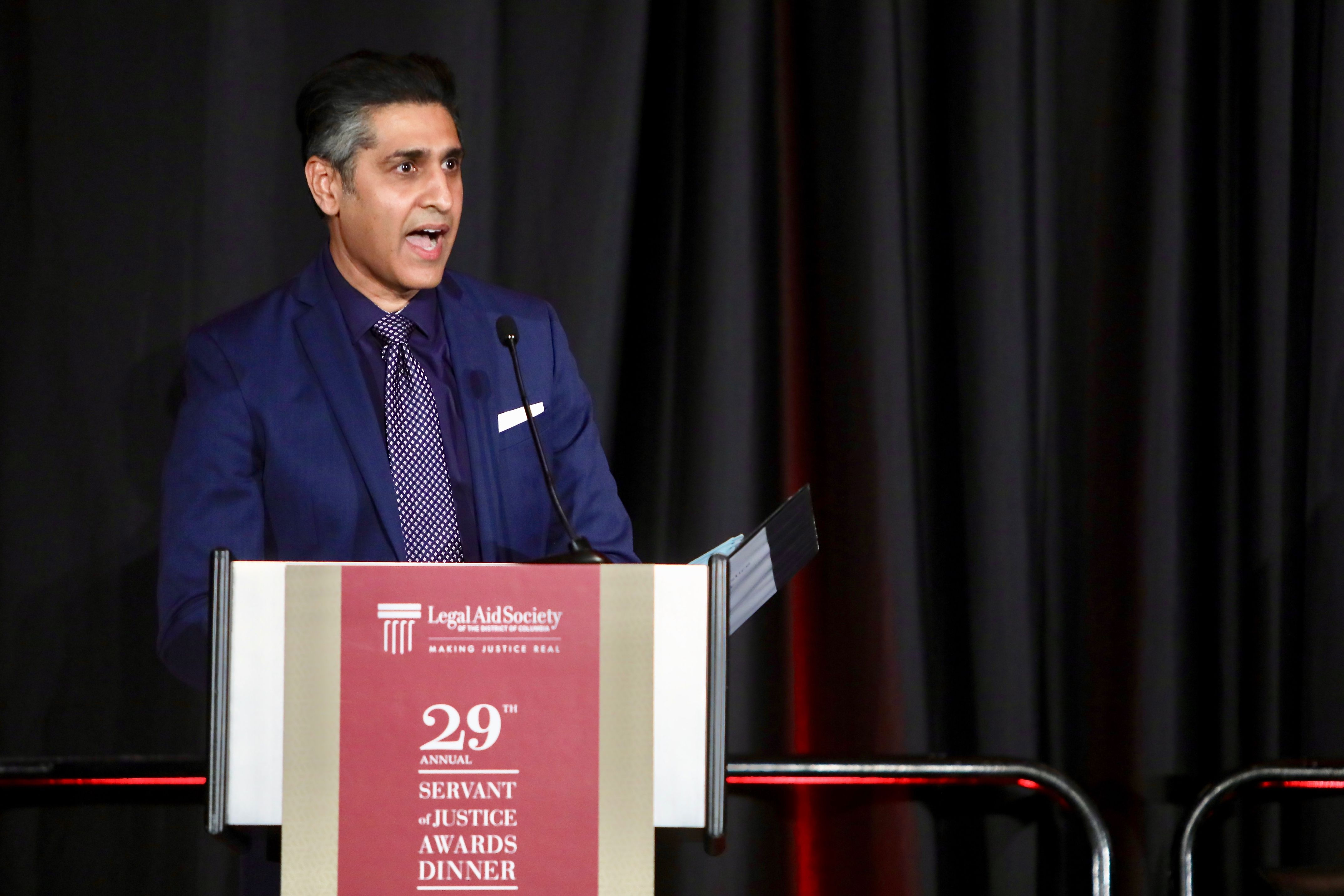 """Servant of Justice Honoree Abid Riaz Qureshi of Latham & Watkins reminds the audience about the importance of """"ensuring that everyone in our community—regardless of income, race, gender, ethnicity, orientation, or religion—has a fundamental right to access justice."""""""
