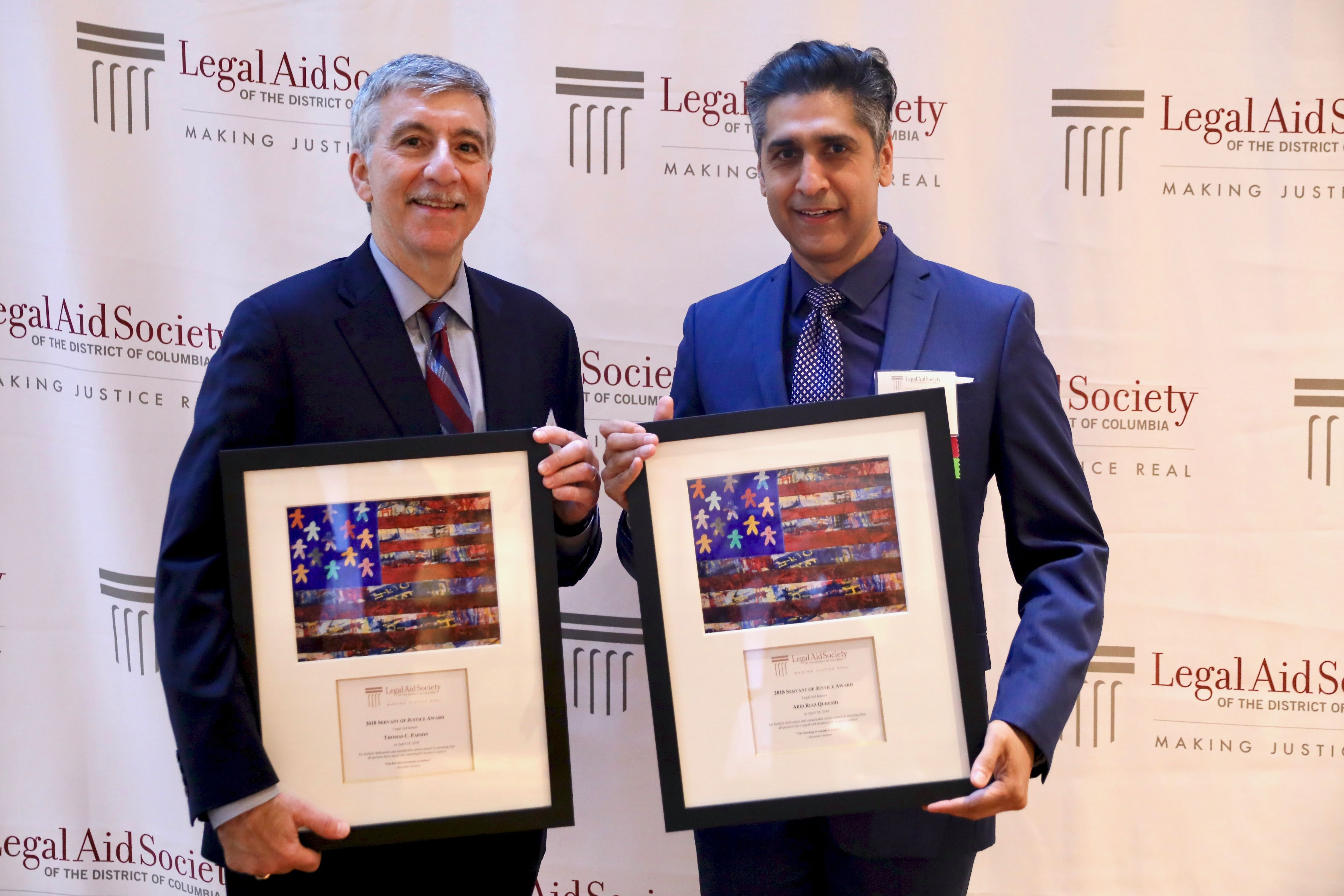 2018 Servant of Justice Honorees Thomas C. Papson of Legal Aid and Abid Riaz Qureshi of Latham & Watkins